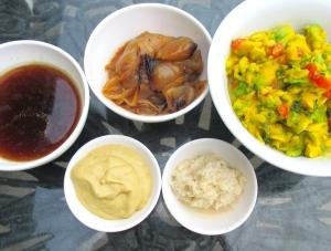 pork jus, guacamole, braised onions, horseradish, grey poupon mustard