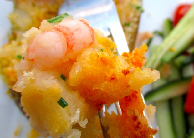 Shrimp-Loaded Twice Baked Potato & CucumberTomato Salad In Lime Vinaigrette