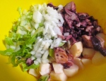 marinated octopus, diced onions, boiled cubed potatoes, sliced romaine, garlic/lime vinaigrette