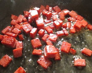 saute chorizo, add whisked eggs and scramble