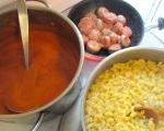 defrost / heat or freshly prepare tomato soup, saute spicy italian sausage, cook elbow maccaroni