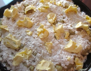 mix 1/3 a/p flour, 1/3 castor sugar, 1/3 stoneground oats, fill pears into buttered baking dish, top with crumble mixture, add a generous amount of butter, bake at 400F until brown