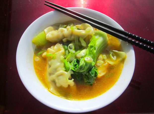 Pork Soup With Pork & Leek Dumplings, Baby Bok Choy And Scallions