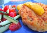 Baked Potato/Shrimp Patty & Cucumber/Tomato Salad In Chili/Lime Vinaigrette With Aji Amarillo Sauce