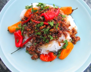 top with chili-pork, sprinkle with cilantro