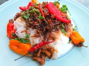 Chili-Pork Rice Sticks