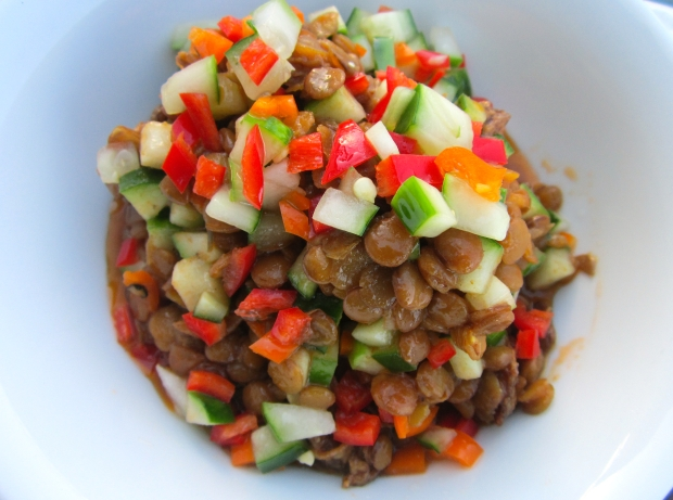 cooked lentils, cider vinegar, olive oil, garlic paste, ketchup, dijon mustard, chilies, peppers