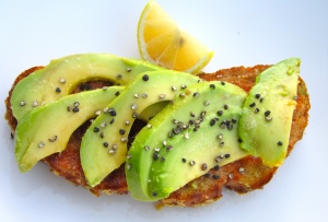 add sliced avocado tothe thicker slice of bread, drizzle with olive oil and lemon juice, sprinkle with kosher salt and fresh cracked pepper