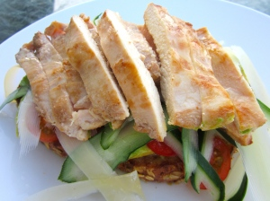 top with sliced chicken