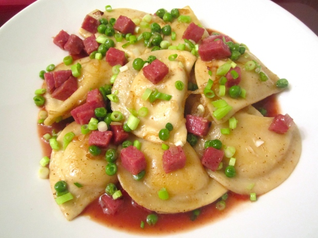 Pierogi With Onions, Salami And Peas