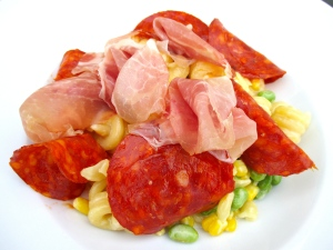 add coppa ham, salame and  prosciutto