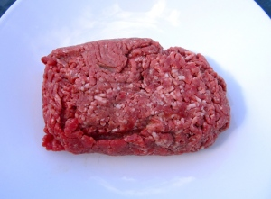 ground rib eye, most fat trimmed of