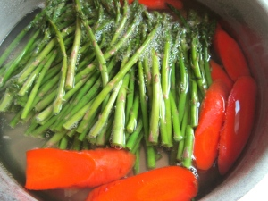 blanch asparagus and carrots in salted water, shock in ice water