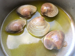 steam clams in white wine and butter with a bit of salt and cayenne pepper
