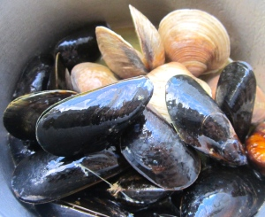 when clams start to open, add mussels, steam until mussels open, remove from heat