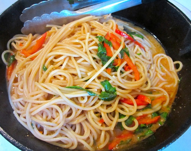 add freshly cooked pasta, return to heat, simmer for one minute