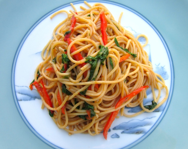 plate pasta on a warm serving dish