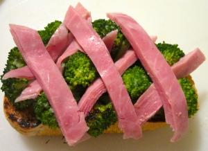 top broccoli with prosciutto cotto