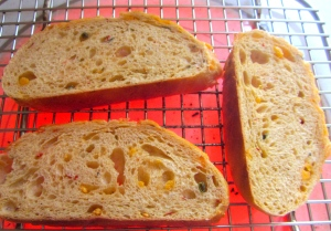grill bread, let cool to warm, spread generously with unsalted butter