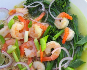 Shrimp, Broccolini And Ramen Noodles In Ginger.Garlic Broth