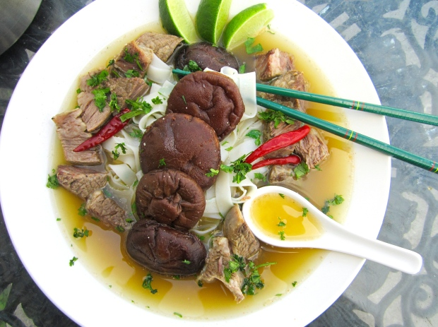 Beef , Shiitake And and Mung Bean Noodles In Ginger.Garlic Broth