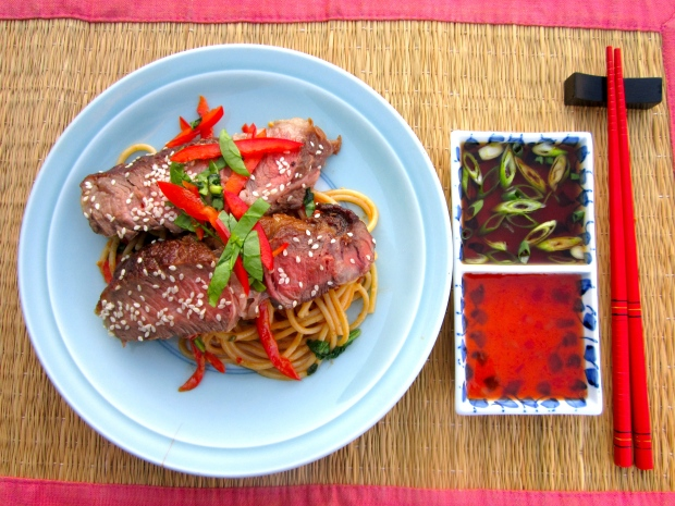 Bone-In Rib Eye & Pasta In  Peanut Sauce, served with ponzu dipping sauce and thai chili dipping sauce