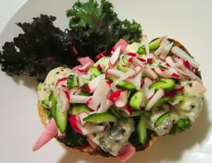 season cucumber and radish julienne with italian vinaigrette, sprinkle generously on top of sandwich