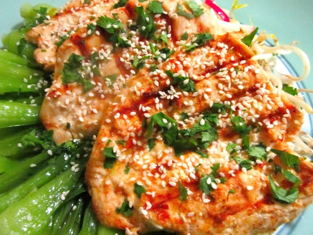 Steamed Bok Choy  In Oyster Sauce & Grilled Chicken Breast In Sweet Chili Sauce