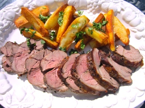 plate lamb and potatoes