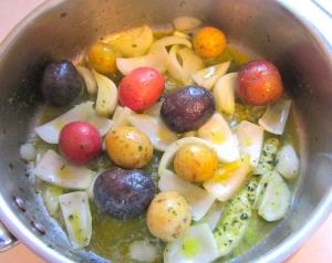saute vegetables in herb/garlic butter