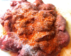 clean chicken livers, season with kosher salt, granulated garlic, sweet paprika and cayenne pepper