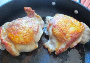 season turkey leg with kosher salt, cayenne pepper and granulated garlic, saute in olive oil on both sides until golden