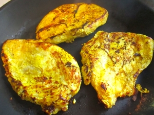 meanwhile, season chicken with kosher salt, turmeric, cayenne pepper and yoghurt, cook in very hot cast iron pan without fat
