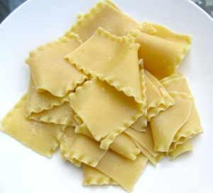 plate pasta in center of plate