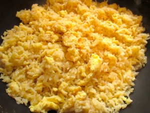 mix rice and eggs, season with salt, pepper