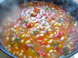 add canned, drained northern beans, simmer another 2 minutes, check / adjust seasoning, return turkey to heat through