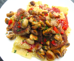 top with sauteed mushrooms, sprinkle with chives