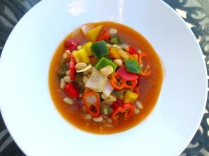 plate vegetables in deep plate