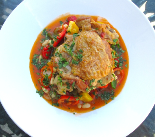 Braised Turkey With Bell Peppers And Great Northern Beans