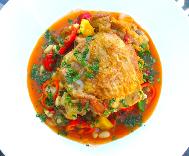 Braised Turkey With Peppers And Great Northern Beans