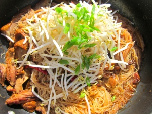 add bean sprouts and scallions