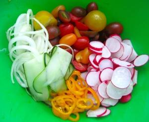 sliced cucumbers, onions, radish. mild chilies, halved rainbow tomatoes, dressed in honey/mustard vinaigrette