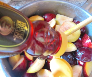 add plums and honey
