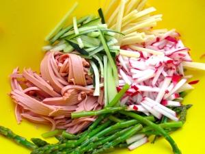 radish, cucumber, asparagus, swiss, bologna