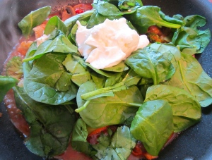 add spinach leaves and a dollop of  greek yogurt