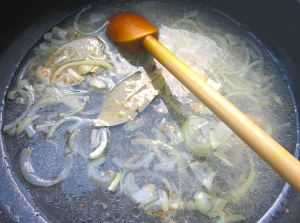 add chicken stock, simmer for 10 minutes