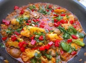 add plenty of chopped cilantro, check / adjust seasoning
