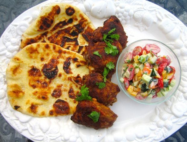 naan, tandoori chicken, tomato/cucumber/yogurt salad