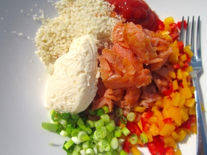 diced smoked salmon, panko bread crumbs, mayo, sliced scallions, diced peppers, ketchup, cayenne pepper