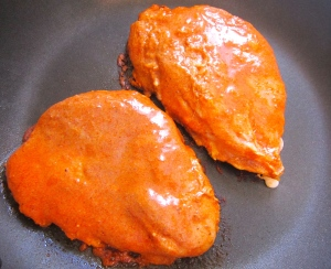 add chicken to VERY HOT cast Iron pan, cook for about 3 minutes on one side